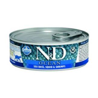 konserva gatas ND-Ocean-Cat-Wet-Sea-Bass-Souid-80g