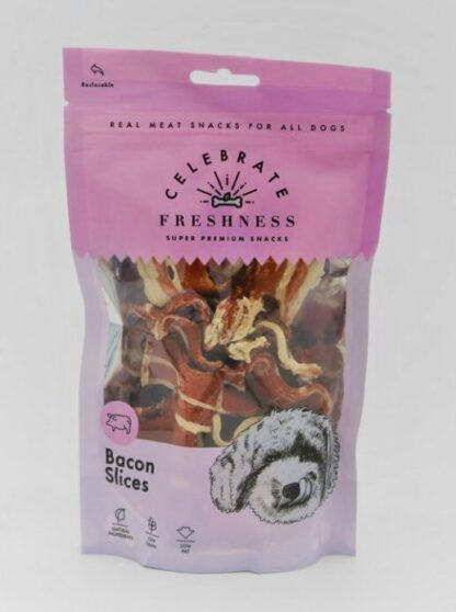 bacon slices celebrate freshness dog snack
