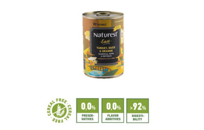 Naturest® easr Turkey and Duck wet dog food konserva skylou galopoula