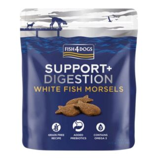 Fish4Dogs Treats - Support + Digestion - White Fish Morsels (225g) dog snack petopoleion