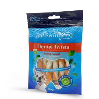 tail swingers dental twists peach snack gia dontia rodakino petopoleion