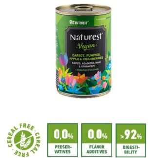 Naturest® Vegan Vegetables and Fruits 400gr froyta kai laxanika wet dog food konserva skylou