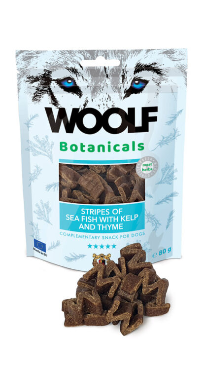 Woolf Botanicals Seafish stripes with kelp and thyme dog snack petopoleion lixoudies skulou
